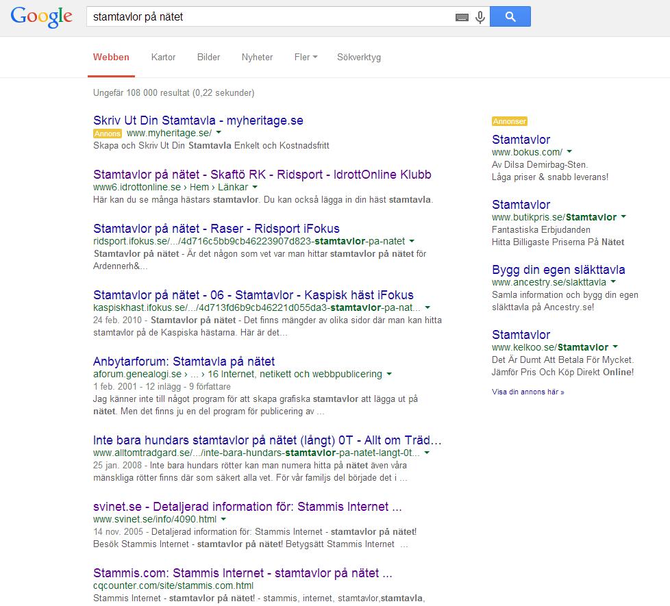 stamtavlor på nätet - googlesökning