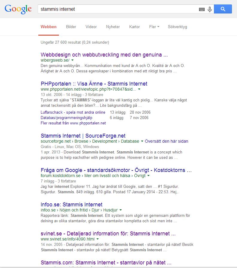 Wibergs Web googlesökning på Stammis Internet